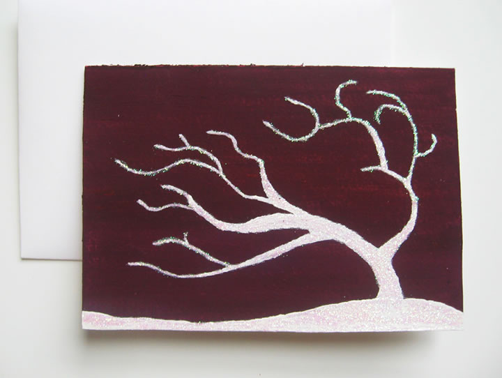 Wind blown winter tree